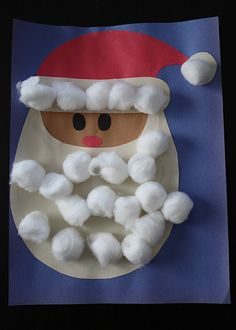 cotton ball, santa clause, balls, kids christmas crafts, school