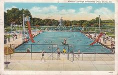 pekin illinois | Pool postcard: Mineral Springs, Pekin, Illinois