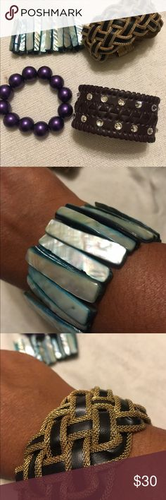 Bracelet Bundle! NEW 4 New women bracelets. Includes: purple faux pearl bracelet, Aqua stone bracelet, Brown with faux rhinestone bracelet and braided black and gold bracelet. This last one is double sided and has a sturdy magnet closure. Accessories