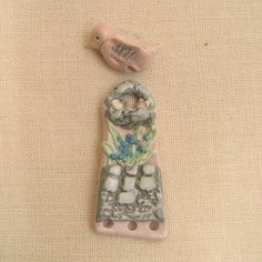 Bird over a Basket Pendant Focal Bead Porcelain by PorcelainJazz, $24.00