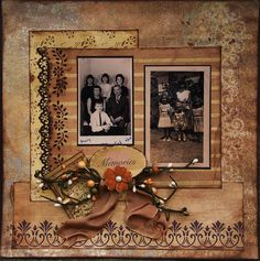 Memories ~ This lovely golden monochromatic layout features beautiful vintage stamp embellishments.