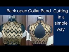 Back Open Collar Band Neck Cutting Saree Blouse Neck Designs, Fancy Blouse Designs, Dress Sewing Patterns, Blouse Patterns, Skirt Patterns, Pattern Sewing, Coat Patterns, Pattern Drafting, Chudidhar Neck Designs