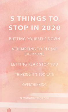 5 Things to Stop in 2020! Lets not hijacking our future by doing these 5 things in the present. Its time for a full, productive, successful year!