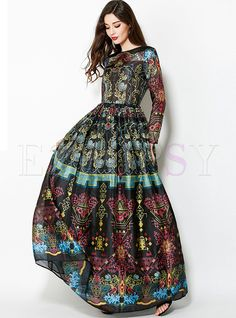 Shop for high quality Vintage Floral Print Big Hem Waist Maxi Dress online at cheap prices and discover fashion at Ezpopsy.com
