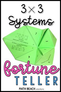 Do you remember making fortune tellers in school? Let your high schoolers reminisce about their childhood while answering questions about solving systems of equations using augmented matrices. Algebra 2 Activities, Algebra 2 Worksheets, Algebra 1, Systems Of Equations, Solving Equations, Linear Function, Precalculus, Math Classroom, Lesson Plans