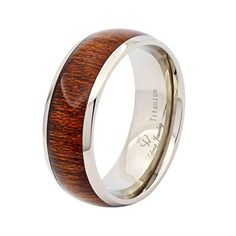 Lefeng 8MM Titanium Wedding Band,Engagement Ring, Real Wood Inlay High polish Inner Sizes 7 to 15 | Jewelry and Gifts