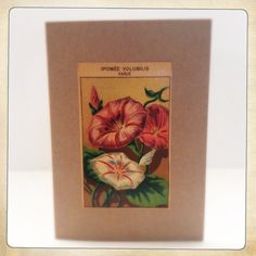 A6 blank folded card with envelope. All our cards are hand made. Each uses an original vintage french seed packet label.