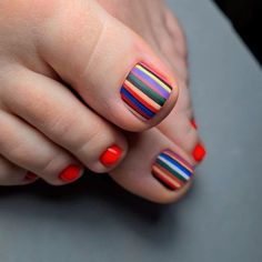 Toe Nails With Stripes Accent ❤ 40+ Incredible Toe Nail Designs for Your Perfect Feet ❤ See more ideas on our blog!! #naildesignsjournal #nails #nailart #toes #toenaildesigns #toenails Pretty Nail Designs, Toe Nail Designs, Rainbow Toe Nails, Feet Nails, Toenails, Feet Nail Design, Striped Nails, Nail Inspo, Swag Nails