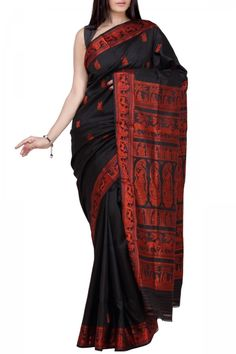 Black Shakunthala Resham Baluchari Silk Saree