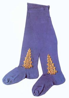 Silk stockings, hand-embroidered, 18th century.