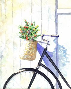 Beautiful watercolor #bicycle #bicyclepainting #painting
