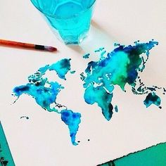Watercolor ideas, painting & drawing, watercolor tattoo, world map pain Inspiration Art, Art Inspo, Arte Disney, Art Design, Oeuvre D'art, Diy Art, Painting & Drawing, Amazing Art, Watercolor Paintings