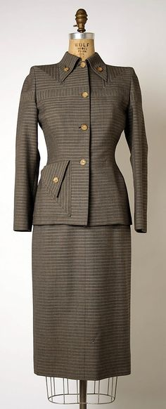 Suit Gilbert Adrian (American, Naugatuck, Connecticut Hollywood, California) Date: 1948 Culture: American 1940s Fashion, Vintage Fashion, Vintage Dresses, Vintage Outfits, Vintage Clothing, 1940s Suit, 1940s Woman, Suits For Women, Clothes For Women