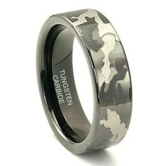 Black Tungsten Carbide 7mm MILITARY CAMOUFLAGE Wedding Ring . My brother would love this . this one is far all the camo fans