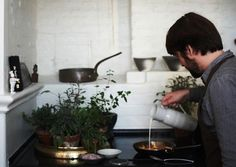 Chef Rechef René keeps a select group of kitchen herbs on the stovetop in his Christianshavn flat in Copenhagen | #Horticool #ApartmentGardening #Gardening