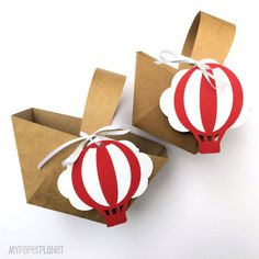 Red and White Hot Air Balloon & Cloud Baby Shower favor gift baskets by MyPaperPlanet