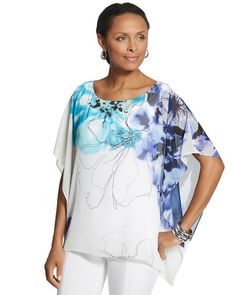 Chico's Erin Floral Poncho #chicos