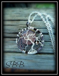 TREE of LIFE pendant w/ MOON necklace by Kimi Springer of Son Blest Beads ~ Pretty tree of life wire work tree with wired on leaf charm and pretty Swarovski crystal dangling from tree. $24.99