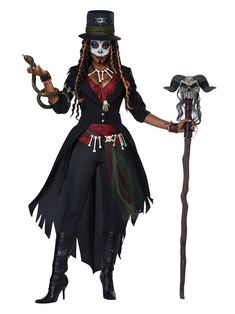 The Voodoo Magic Witch Doctor Costume for women includes a witch doctor-style outfit and accessories. Cast voodoo spells at the Halloween party dressed as a witch doctor! Voodoo Priestess Costume, Voodoo Costume, Voodoo Halloween, Looks Halloween, Hallowen Costume, Scary Halloween Costumes, Halloween Party, Women Halloween, Snake Costume