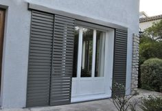 One type of shutters i found. Not the most beautiful, but we don't want to maintain wooden ones. Types Of Shutters, House Shutters, Exterior Shutters, Gate Design, House Design, Outdoor Shutters, Balcony Grill, Window Grill, Door Paint Colors