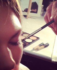 Using fanned make-up brushes to apply mascara backstage at Nanette Lepore! #TRESmbfw #mbfw