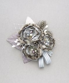 Large flower fascinator brooch hair comb Felicity by onehappygirl Large Flowers, Diy Flowers, Fabric Flowers, Silver Fascinator, Wedding Accessories, Hair Accessories, Spring Carnival, Love Hat, Fabric Bows