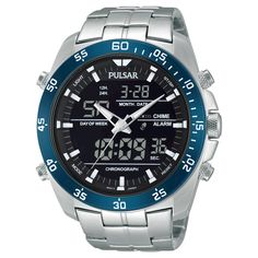 2906443e870 Men s Pulsar Digital   Analog Chronograph - Silver Tone with Black Dial -  PW6013