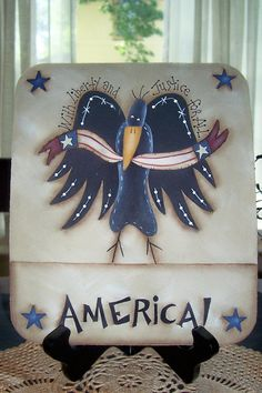 Americana Mousepad Crow Primitive Fourth of July Patriotic Office Home Decor Handpainted Decoration Decorative Wood Painting, Primitive Painting, Tole Painting, Painting On Wood, Crafts To Make, Diy Crafts, Crow Bird, Spring Painting, Country Crafts