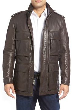 Andrew Marc 'Tompkins' Leather Field Jacket available at #Nordstrom
