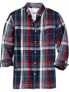 Twill shirt in red and blue plaid Checked Shirts, Man Dressing Style, Flannel Outfits, Twill Shirt, Blue Plaid, Casual Shirts For Men, Workout Shirts, Sd, Cool Shirts