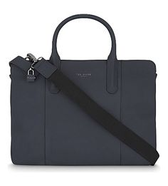 Ted Baker Icarus Leather Document Bag In Navy Shoulder Strap, Shoulder Bags, Work Bags, Sleek Look, Sophisticated Style, Ted Baker, Mens Fashion, Navy, Classic