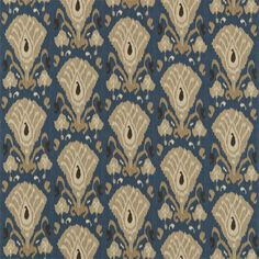 Annapurna Linen Fabric  A lovely printed ikat design in light brown and indigo background.