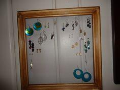 thrift-store frame earring holder