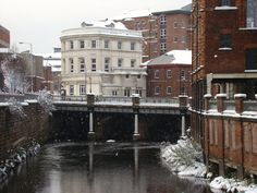 River Don looking towards Lady's Bridge on a snowy winters day, Sheffield detail Sheffield, Sources Of Iron, Happy City, Industrial Development, Yorkshire England, My Town, Derbyshire, River, Towers