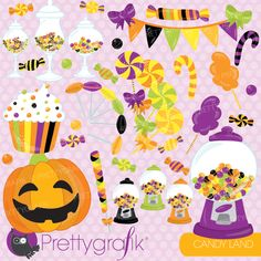 Halloween candy clipart for spooky sweet fun! #clipart #scrabbooking #kidsparties #halloween