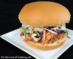 Barbecue chicken sandwich with slaw