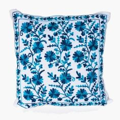 Bright turquoise patterned throw pillow