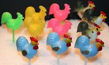 LOT OF 11 VINTAGE PLASTIC ROOSTER CHICKEN CUPCAKE PICKS CAKE TOPPERS