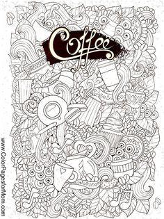 Ausmalbildbild für Erwachsene mit Kaffeemotiv *** Coloring Page for grown ups coffee theme