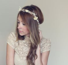 natural halo crown rustic hair wreath by TheSunflowerStand on Etsy, $65.00