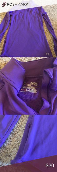 Under Armour Quarter Zip shirt fitted. Purple. Purple Quarter Zip Hoodie. Under Armour. Size medium. Under Armour Tops Sweatshirts & Hoodies