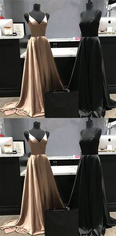 Spaghetti Straps V-neck Long Satin Prom Dresses Leg Split Evening Gowns P2512