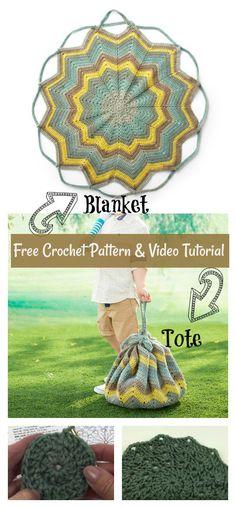 Convertible Blanket Tote Bag Free Crochet Pattern and Video Tutorial #freecrochetpatterns #blanket #totebag