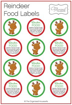 {The Organised Housewife} Reindeer Food Tags Labels - just what I needs, I make reindeer food every Christmas with my boys