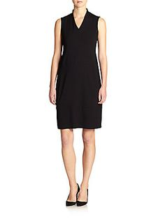 """Eileen Fisher Stretch Jersey Dress $218 Crafted from soft stretch jersey for an easy fit, this seamed dress exudes effortless polish.  V-neck Sleeveless Front seams Pullover About 39"""" from shoulder to hem Viscose/Lycra Dry clean Imported Model shown is 5'10"""" (177cm) wearing US size Small."""