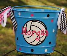 Items similar to Custom Volleyball Easter Basket Pail Sports Theme Varsity Personalized or Monogrammed on Etsy Volleyball Senior Gifts, Senior Night Gifts, Volleyball Quotes, Soccer Gifts, Coaching Volleyball, Girls Softball, Softball Players, Sports Gifts, Beach Volleyball