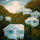 1970_houses_hills Early Humans, Kiwi, Landscape Paintings, Houses, Graphic Design, Artists, Image, Homes, Landscape
