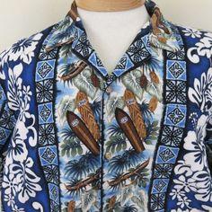 Vtg Barkcloth RJC XL Surfboard Canoe Hibiscus Blue Hawaiian Shirt Floral EUC #RJC #AlohaShirt