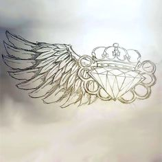 A badass tattoo of a diamond, brass knuckles and a wing. Nice tattoo for badass men. Color: Gray. Tags: Badass