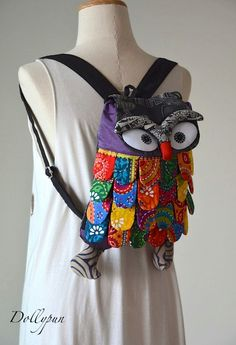 VIOLET Owl Backpack Hmong Tablet Smartphone Camera by Dollypun, $11.99